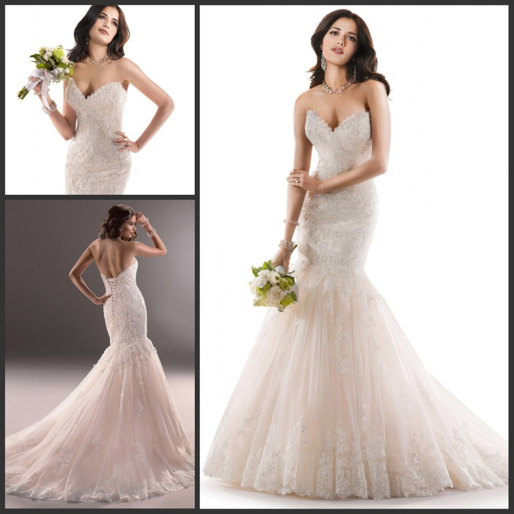 Alibaba Champagne Colored Sweetheart Lace Mermaid Wedding
