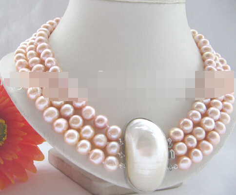 ddh003466 3row 9-10mm pink round freshwater pearl necklace - shell clasp<br><br>Aliexpress