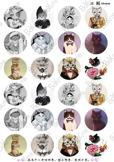24Pcs Round 18mm Cabochons European Style Mix Royal Cat Sailor Sign Cartoon Image Glass Cabochon(China (Mainland))