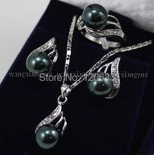 Black South sea Shell Pearl Earrings Ring & Necklace Pendant Set Silver hook wholesale women's jewelry(China (Mainland))