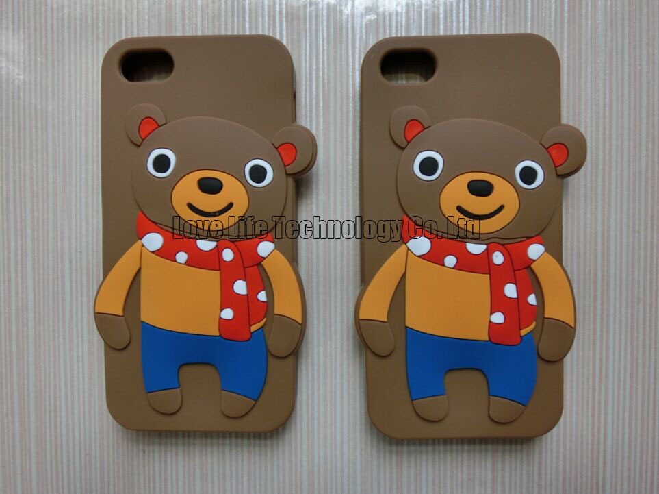 3D Cute Bears in Nice Scarf Silicon Cases Covers Skins Shields Housings Armors for iPhone 6 with Brown + Freeshipping(China (Mainland))