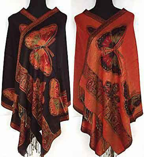 Red/Black/Purple/Blue New Style Women Double Side Butterfly Silk Pashmina Scarf Wrap Shawl(China (Mainland))