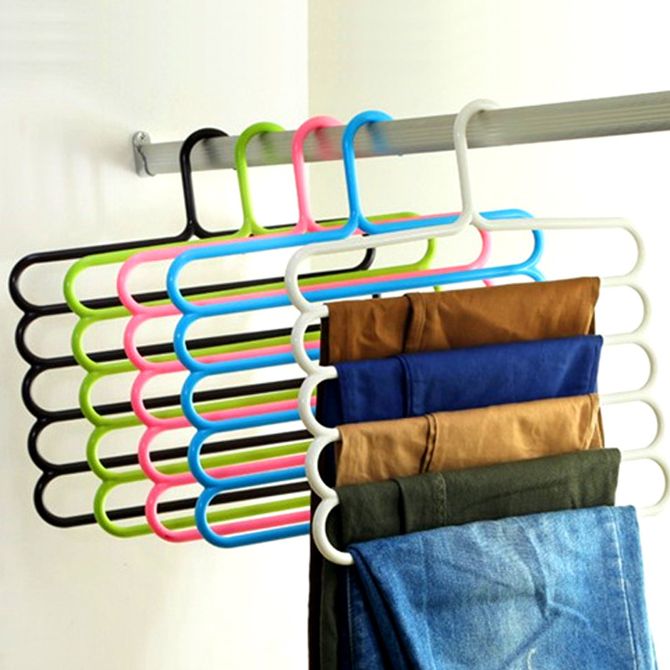 Pants Hangers Holders For Trousers Towels Clothes Apparel Hangers Five Layer Space Saving In