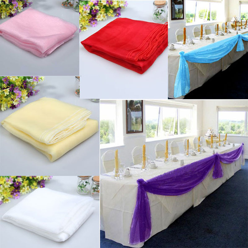 Гаджет  Free Shipping 5x1.4m Organza Table Runners Wedding Party Banquet Bow Decoration 6 Colors  Wedding Decoration Casamento  E5M1 None Дом и Сад