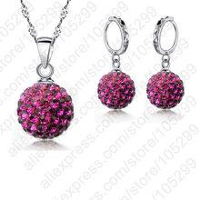 Новейшая Оптовая Цена Настоящее серебро 925 проба полный Кристальный шар кулон ожерелье Серьги Комплекты украшений для женщин девочек(China)