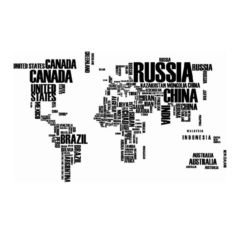"""Brand new """"World map"""" Design Wall sticker English letters map Home Decor Decoration hot sale(China (Mainland))"""