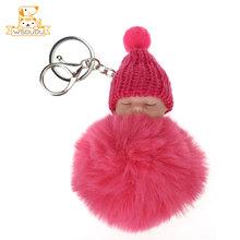 Kawaii Hairball Chaveiro Pompons Tampão Feito Malha Bebê Reborn Bonecas Pingente Bolas Macias Bichos de pelúcia Dormir De Tricô Bonito Presente(China)