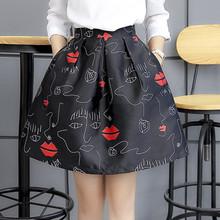 high waist short skirt print bust skirt autumn skirt a-line sheds plus size puff skirt medium skirt female