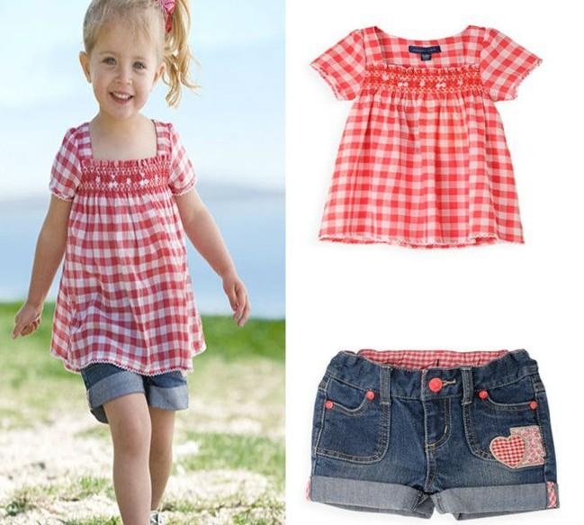 Retail 1 set Free shipping new design 80-120 girls' tshirt+short=set girl clothing set baby girl summer suit girl wear F8066(China (Mainland))
