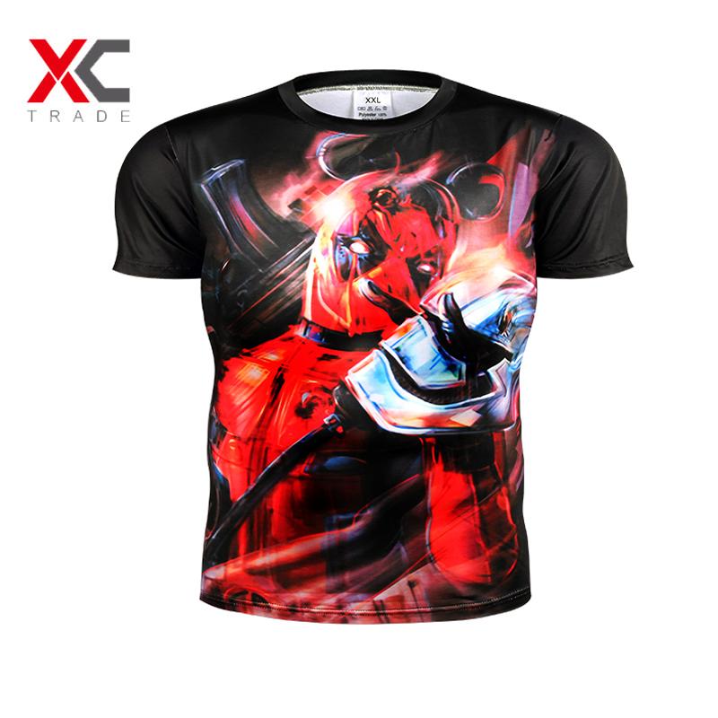 NO.9 new American movie Deadpool 3D Men's T-shirt men and women casual shirt T-shirt screen real man choose clothing trend 2 XL(China (Mainland))