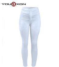 1888 YouAxon New Casual Fashion Female Plus Size White High Waist Stretch Skinny True Denim Jean Pants Trousers Jeans For Women(China (Mainland))