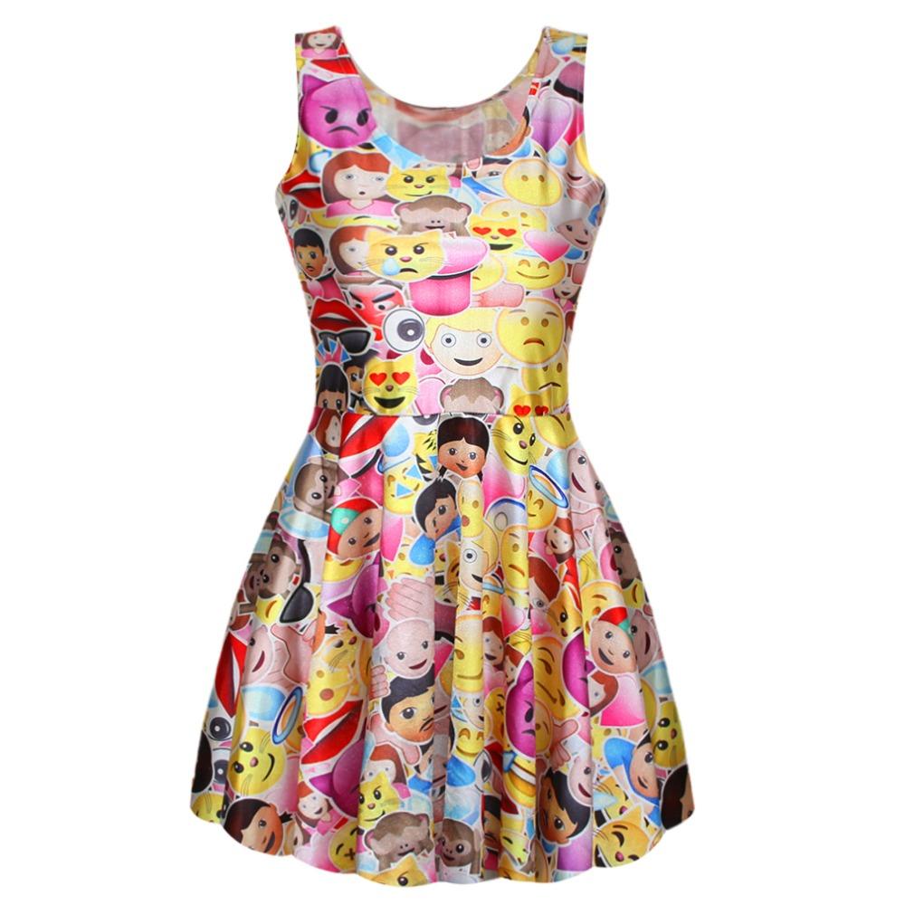 Adogirl 6 Models New Fashion 2016 Funny Emoji Leisure font b Women b font Summer Dress