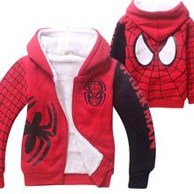 spiderman children thick fleece winter coat child cartoon hoodies kids  boys sweatshirt  outerwear velvet jackets clothing(China (Mainland))