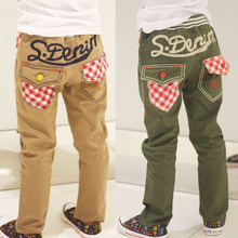 Free shipping Boy's spring autumn trousers for boys and girls leisure trousers embroidered lattice pocket panty(China (Mainland))