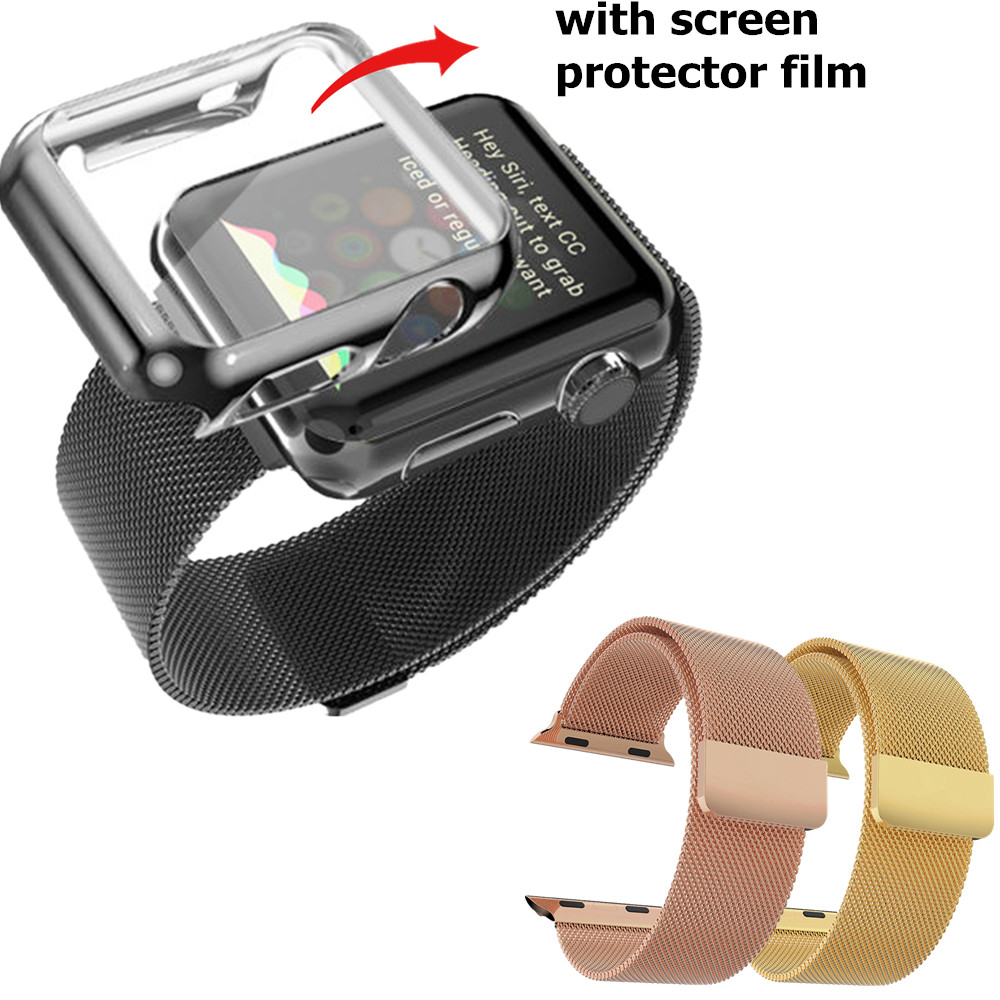 New Magnetic Closure Milanese Loop Watch Bands Strap for Apple Watch 38mm/42mm Electroplate Metal Plated Case with Screen Flim <br><br>Aliexpress