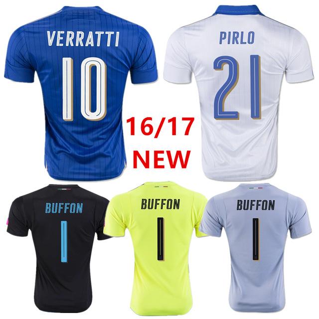 2016 Italy national team goalkeeper soccer jersey thai quality 16 17 Italy Goalkeeper Yellow Black Grey Buffon Football Shirt(China (Mainland))