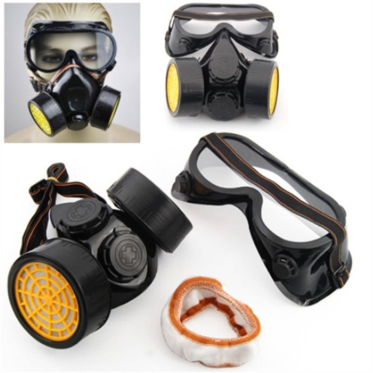 Brand New Double Cartridges Filter Cotton Chemical Respirator Anti-Dust Mask + Eye Goggles(China (Mainland))