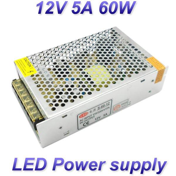 12v 5a 60w switching led power supply 100 120v 200 240v ac. Black Bedroom Furniture Sets. Home Design Ideas