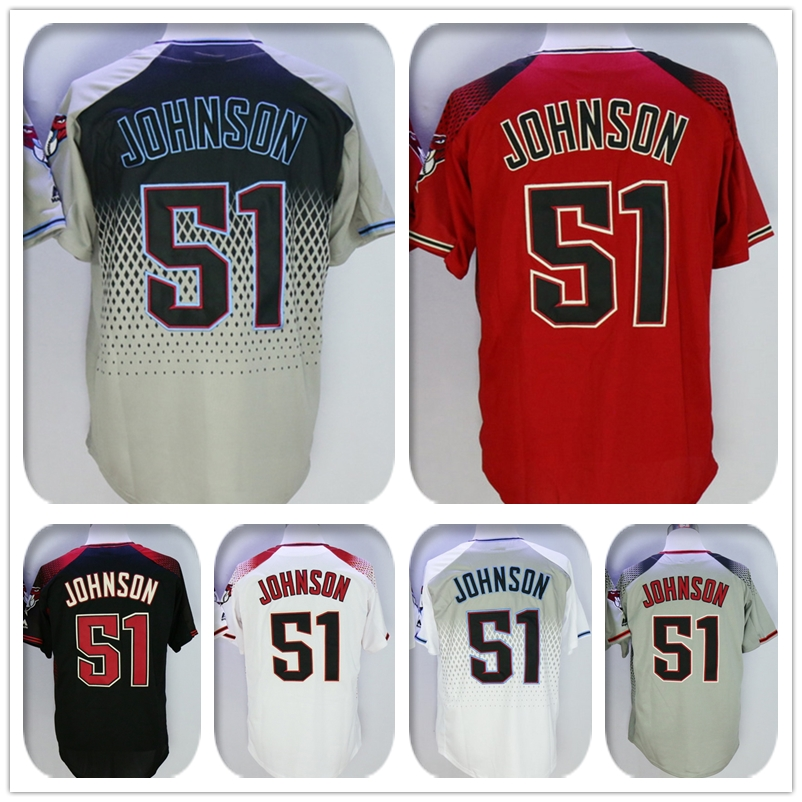 Mens New Fabric 51 Randy Johnson Jersey Color Purple Gray Red Blue White Coolbase Heat-sealed Tagless Throwback Jerseys(China (Mainland))