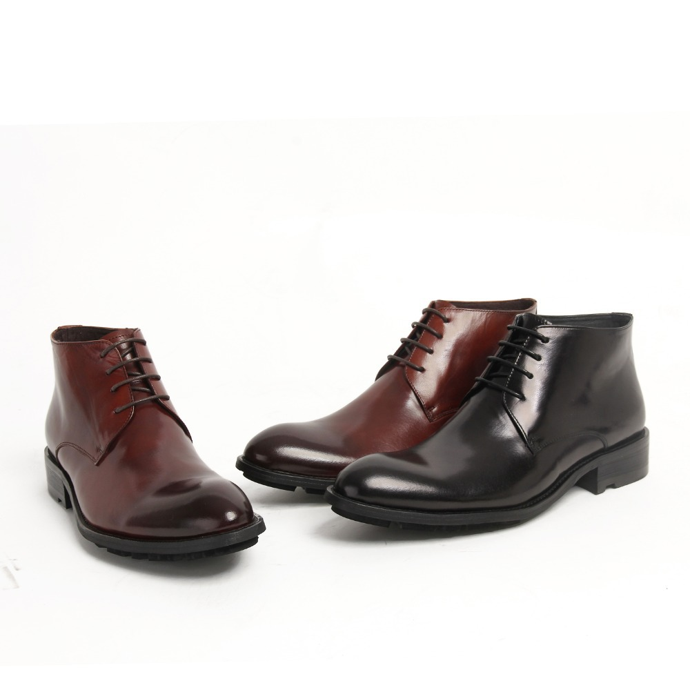 fashion coffee black mens ankle boots genuine leather