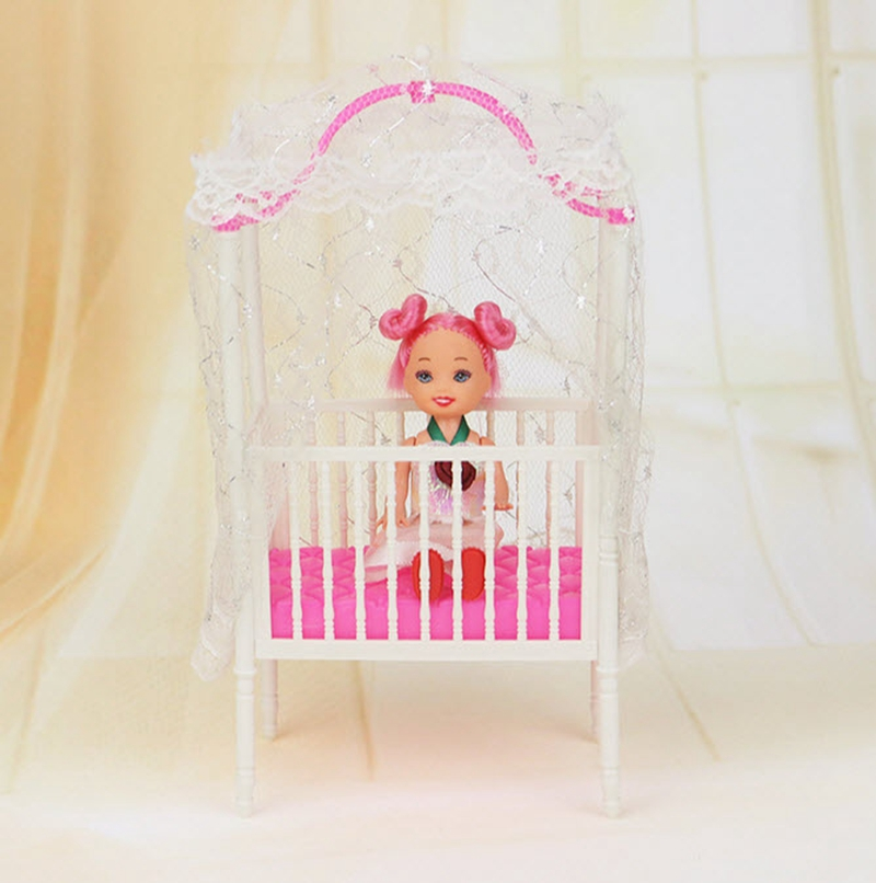 Plastic Small Candy Child Crib For Barbie Ladies Doll Furnishings For 1/12 Kelly Dolls Child Mattress Doll Equipment
