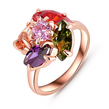 Flower Shaped Ladies Rings Jewellery 18K Rose Gold Plated AAA Swiss Zircon High-end Ring  Ri-HQ0075