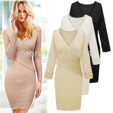 2015 Fall Fashion Women Long Sweater Dresses V-Neck Ruched Wrap Front Long Sleeve Skinny Split Pencil Dress(China (Mainland))