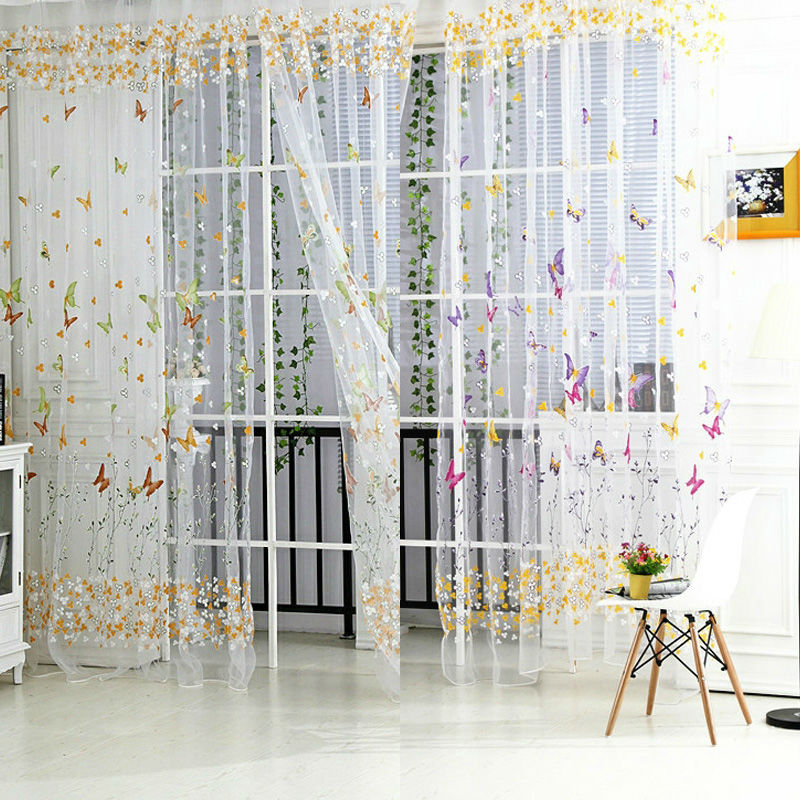 New Butterfly Floral Tulle Voile Window Curtain Voile Curtains Tulle On The Window Curtain
