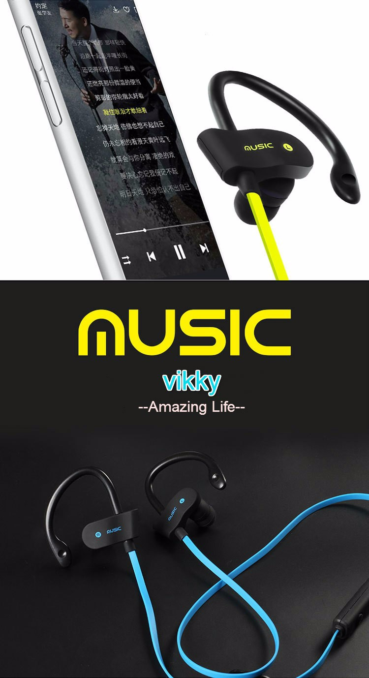 New Hot Earphone Headphone Wireless Sport Bluetooth Headset Stereo Earplugs with Microphone for IPhone  Samsung LG XiaoMI