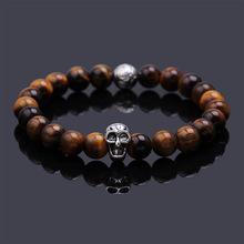 Pulseras mujer black Lava stone buddha beads bracelet elastic charm bracelet rope chain Natural stone for