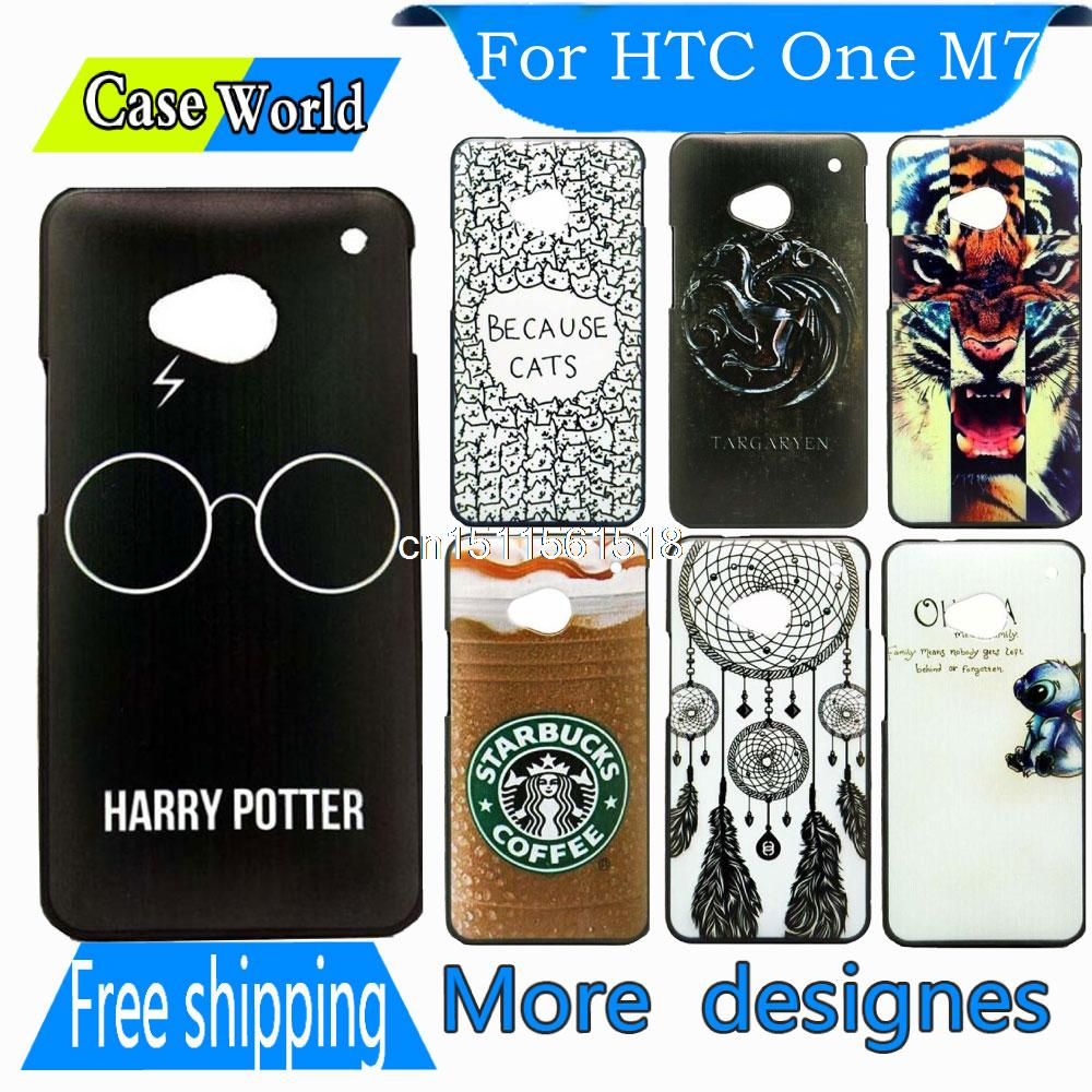Luxury Original Harry Potter Glasses Black Back Custom Painted Mobile Hard Plastic Phone Cover For HTC ONE M7 801E Case(China (Mainland))