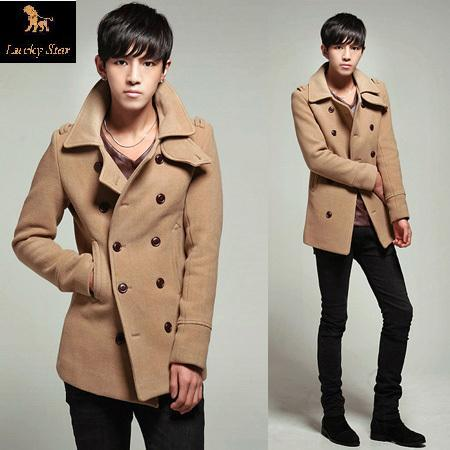 2014 men duffle coat brand men casual fitted trench formal slim fit long double breasted duffle coat manteau Winter(China (Mainland))