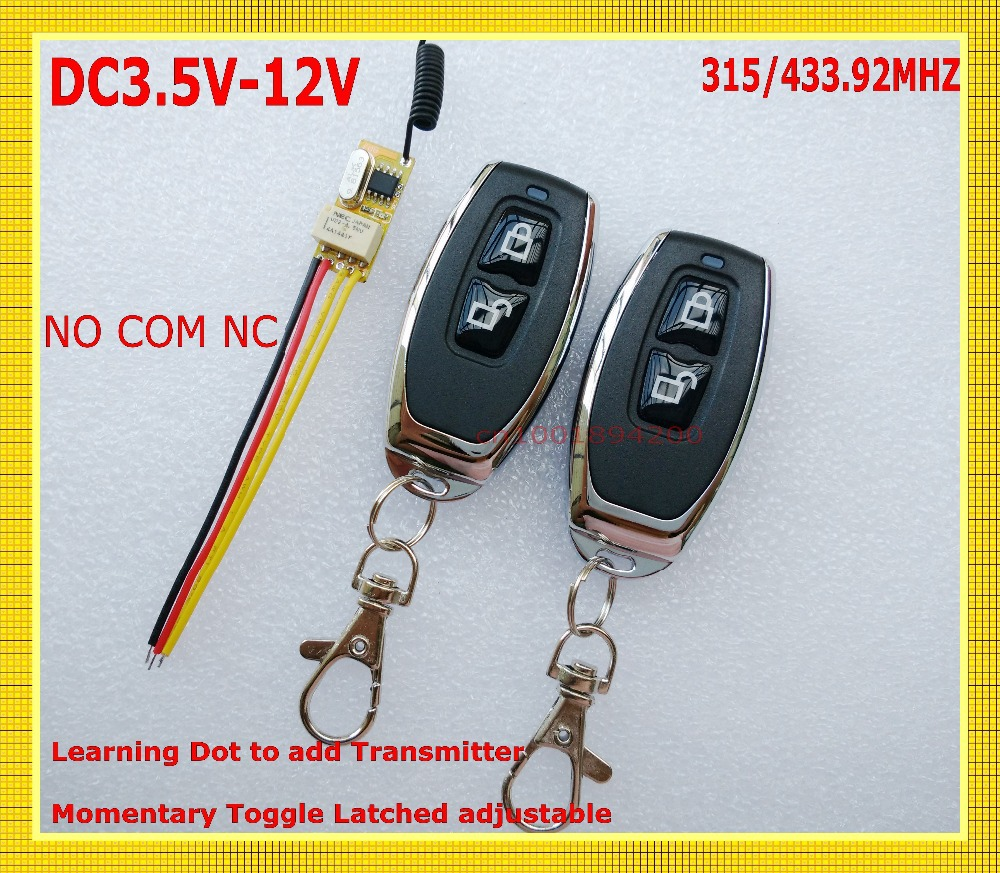 DC 3.5V -12V Miniature Relay Receiver+2 Transmitters 3.7V 4.5V 5V 6V 7.4V 9V 12V Minitype Micro Remote Control Switch Small TXTX<br><br>Aliexpress