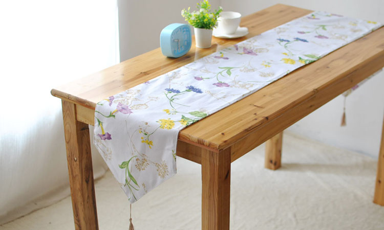 Spring Summber Fresh White Ground Colorful Flower Linen Cotton Table Runner Party Tablecloth Kitchen Cover Decoration Photo Prop(China (Mainland))