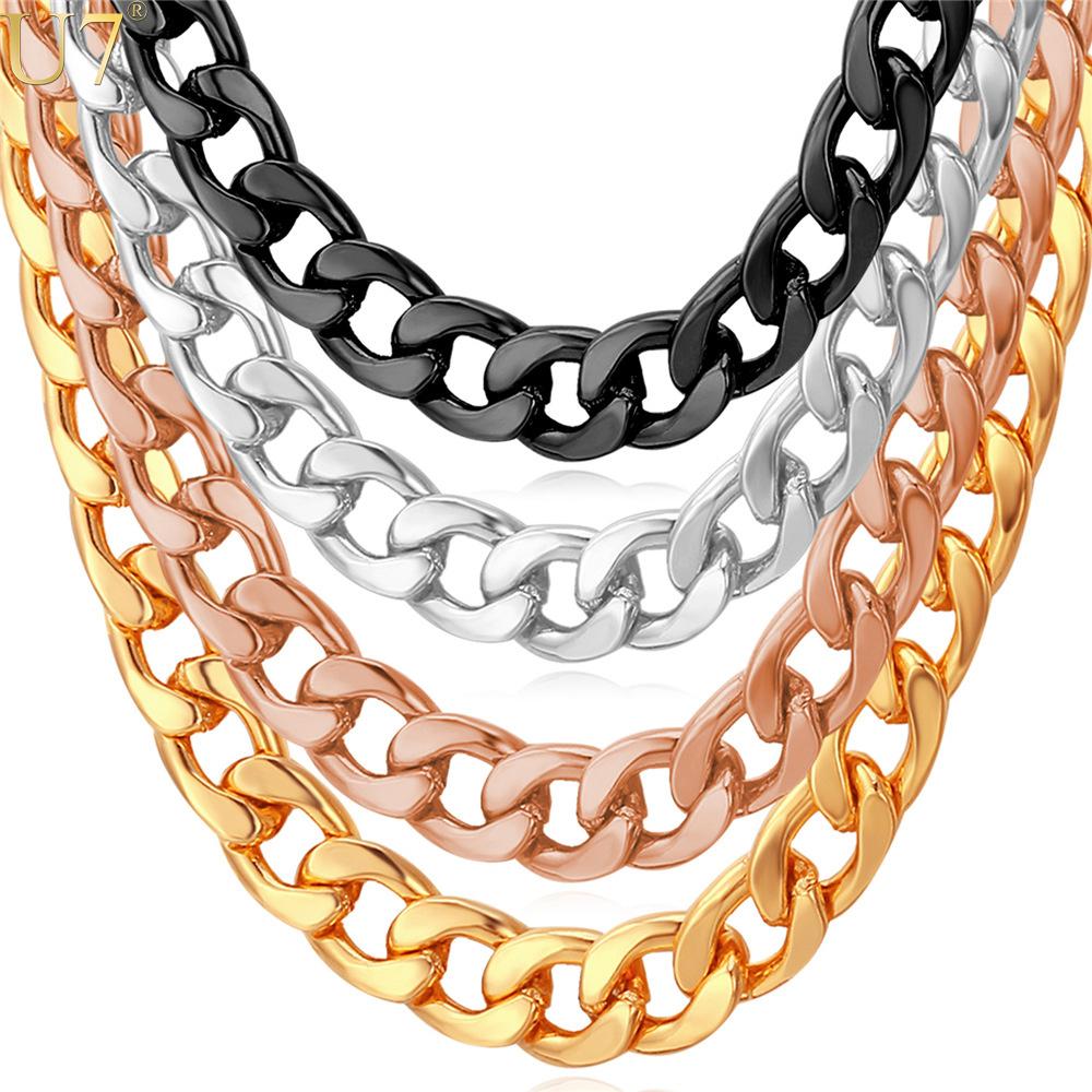 U7 Cuban Link Chain Necklace Wholesale Rose Gold/Black Gun/Silver/Gold Color 7MM Long/Choker Men Jewelry Hip Hop N317