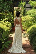 Sheath Lace Wedding Dress 2016 Sexy Sleeveless V-Neck Open Back Sweep Train Applique Bridal Gowns Vestido De Noiva Custom Made(China (Mainland))
