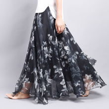 Buy Women's Summer Chiffon Long Skirts High Waist Floral Printed Maxi Skirt Vintage Casual Beach Long Skirt Plus Size L, XL for $25.10 in AliExpress store