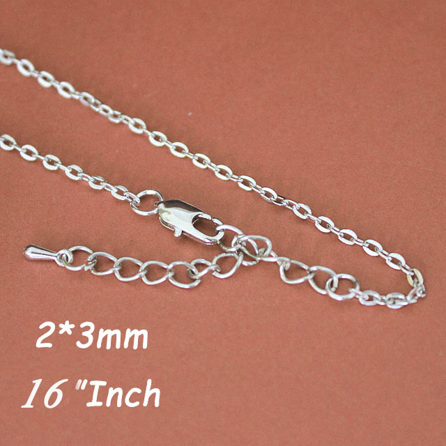 16inch 2mm Jewelry Flat Cable Links Metal Silver-plated Necklace Chains With Square Clasps Extender End Drops diy Components<br><br>Aliexpress