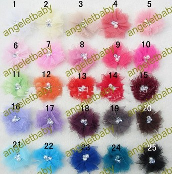 free shipping 60pcs baby girls Mini Tulle Mesh Chiffon flowers Rhinestone Pearl  Center Flat Back for hair headband HT21