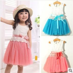 Free shipping 2013 popular summer girl dress One-piece dress sundress Princess girl dress Children's lace dress