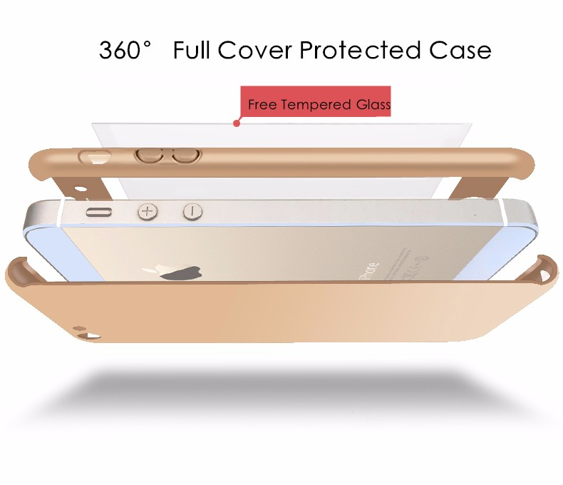 5S SE Luxury Coverage of 360 Degree Hard PC Case For Apple iPhone 5 5S SE Slim Full Body Cover + Clear Glass Screen Protector