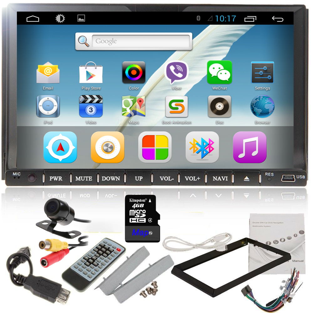 Free Rear view camera 4.2 System Universal 2Din Car Radio GPS Bluetooth WiFi BT TV PC 7 Inch Car Stereo DVD Player()