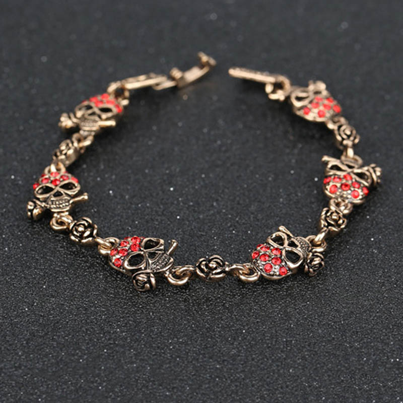 New Brand Skull Design Red/Blue Crystal Charm Bracelets Top Quality Vintage Gold Plated Party Costume Jewelry pulseras(China (Mainland))