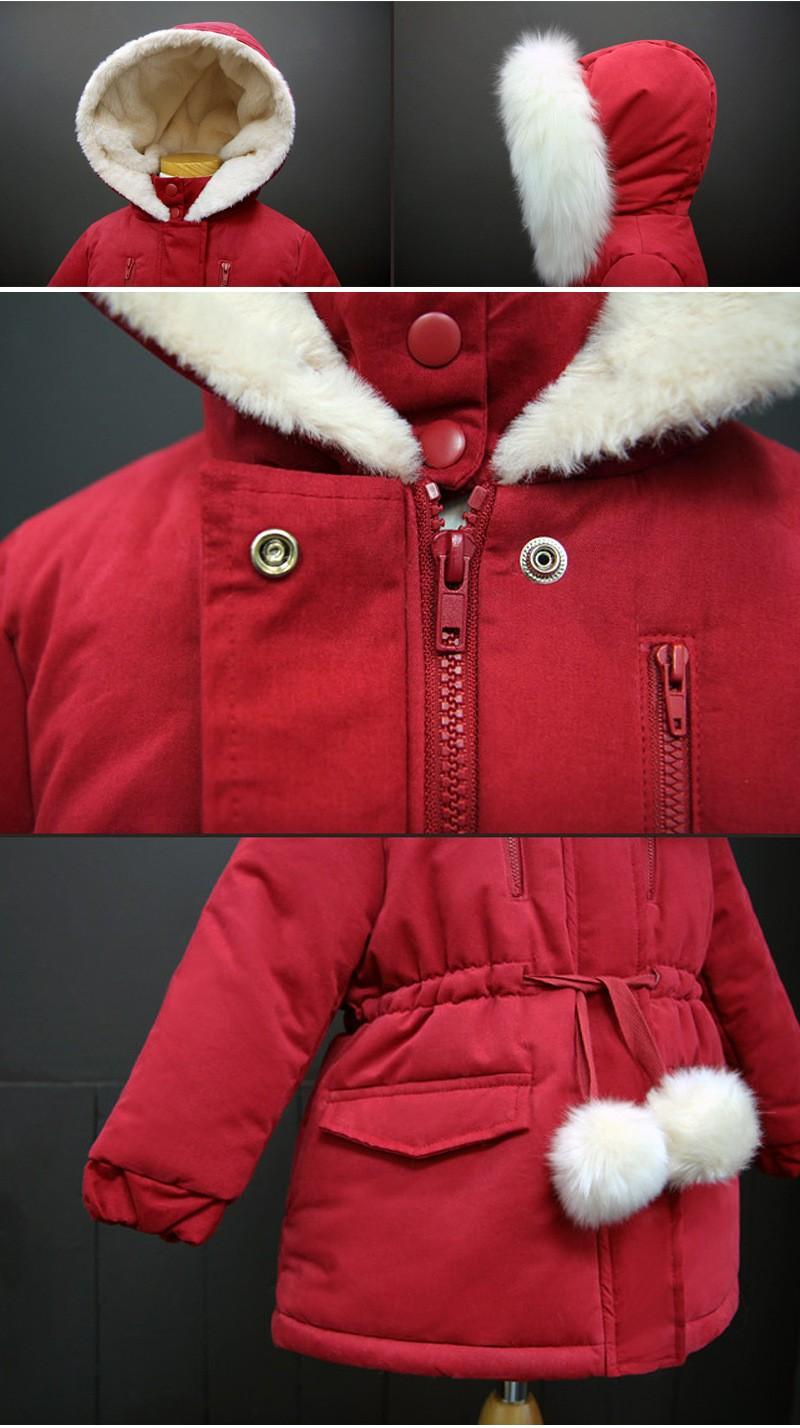 Скидки на 2016 Зимние Девушки пальто куртки Хлопка одежда новая детская длинное пальто Толстый хлопчатобумажный пиджак Утолщение девушки пуховик