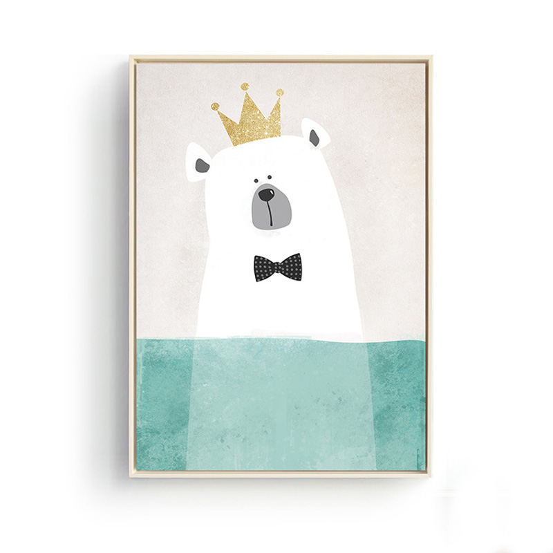 DCTOP Wihite Bear Wearing Tie Crown Cartoon Nursery A4 Poster Print Cute Animal Wall Picture Painting For Kids Room Decoration(China (Mainland))