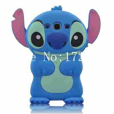 100Pcs/lot Cute Blue Lilo Stitch Soft Silicone Case For Samsung Galaxy S3 i9300 Cartoon Stitch Case For S3 I9300 FreeShipping(China (Mainland))