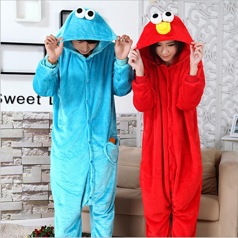 Winter Pajama All in One Flannel Anime Pajamas Set Cartoon Cookie Monster Adult women Warm Homewear Onesies Animal Pajama Pyjama(China (Mainland))