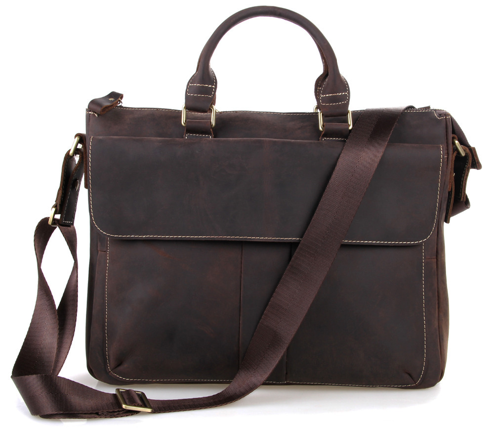 Free DHL Inport Crazy Horse Leather Business Bag Men ...