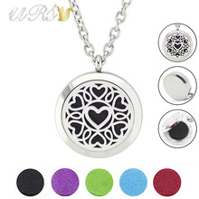 Buy 30mm silver magnetic stainless steel aroma essential oil diffuser necklace perfume locket matching chain (free felt pads) for $4.90 in AliExpress store