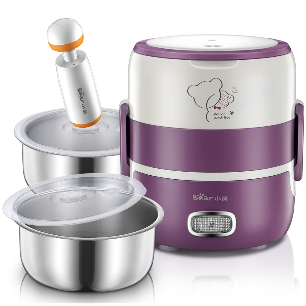 The vacuum insulation box double stainless steel electric heating plug two mini cooking lunch box(China (Mainland))